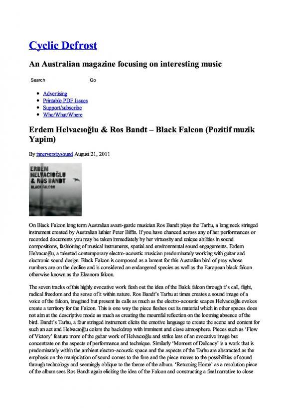 Cyclic Defrost Magazine August 2011