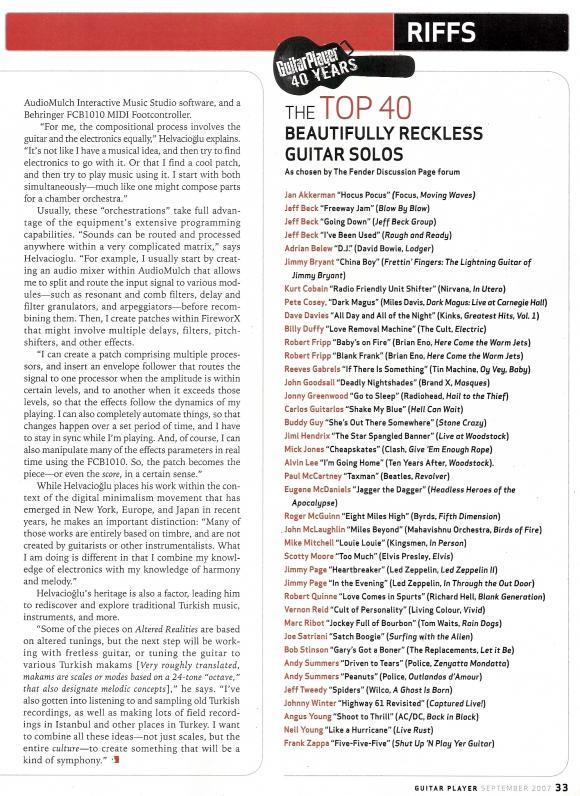 Guitar Player Magazine September 2007