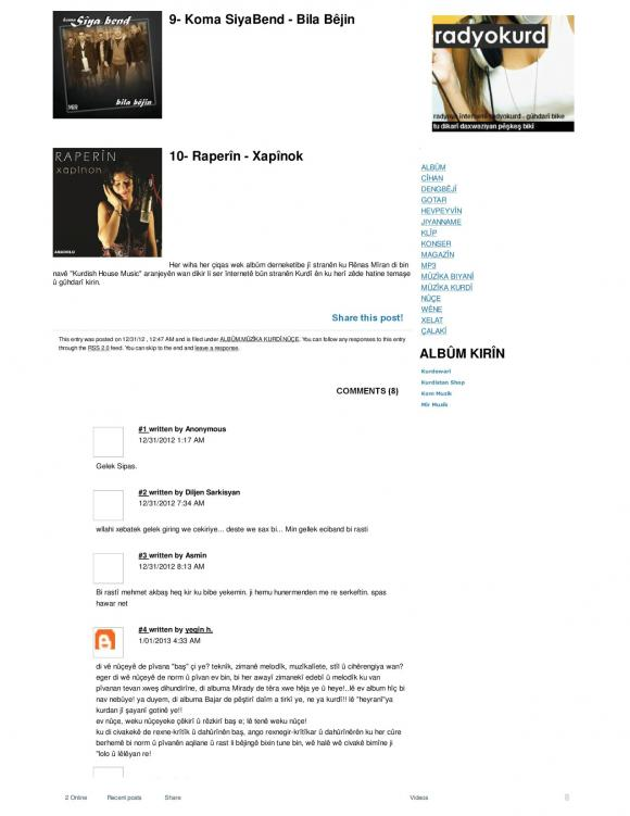 HAWAR Magazine - BEST ALBUMS OF 2012