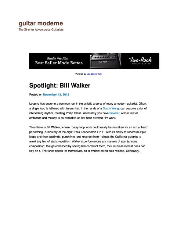 Guitar Moderne magazine interview with Bill Walker November 2013